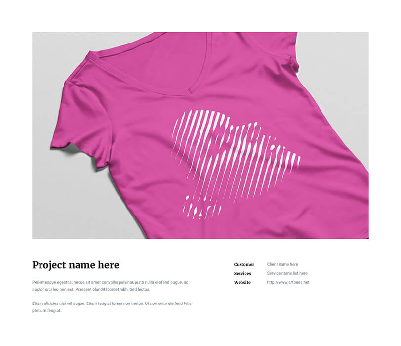 Portfolio Pink T-Shirt - Jupiter X Elements